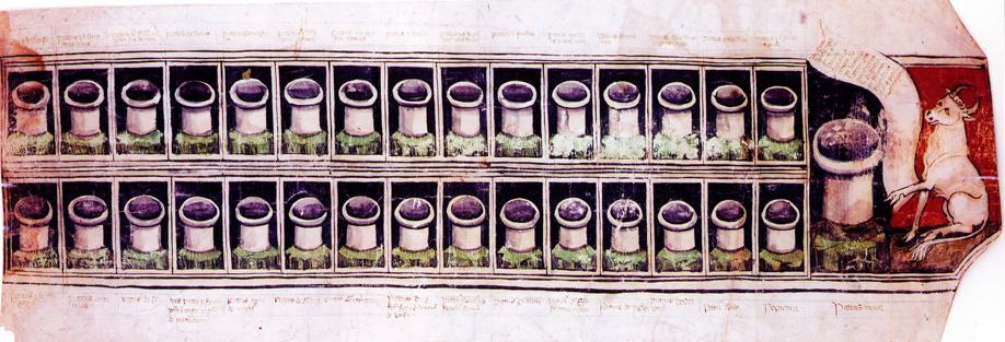 1. I pozzi di acqua salata di Salsomaggiore divenuti di proprietà del comune di Parma nel 1318: miniatura su pergamena, sec. XIV (Parma, ASPR, Diplomatico, Pergamene Miniate.