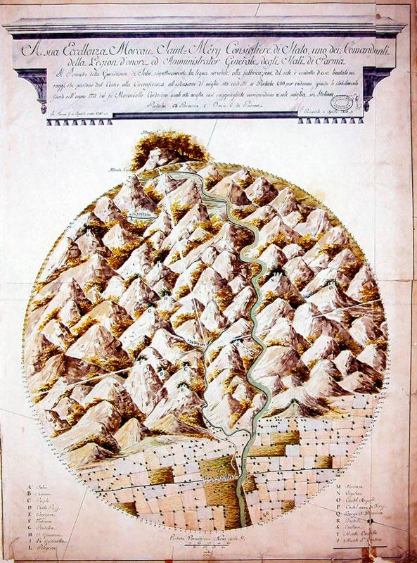 """2. """"Il Perimetro della Giurisdizione di Salso, rispettivamente la legna servibile alla fabbricazione del sale..."""": disegno acquerellato su carta, 1783. Le diverse zone boschive sono contrassegnate con lettere dell'alfabeto (Parma, ASPR, Fondo mappe e disegni, 26/37)."""