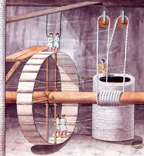 3. L'attrezzatura della salina di Salsomaggiore: pozzo della ruota con gli ergastolani al lavoro, disegno acquerellato su carta, 1779.: La macchina, già usata anche presso i cantieri edili dell'antica Roma, portava l'acqua salsa in superficie sfruttando i prigionieri che facevano girare la ruota, camminandovi all'interno. (Parma, ASPR, Fondo mappe e disegni, 26/34).