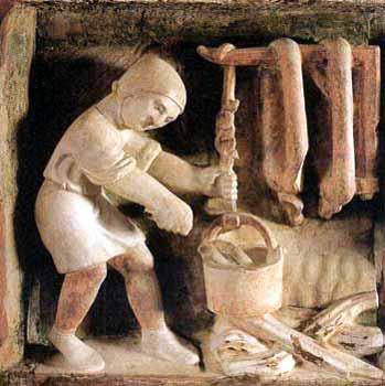 4. Segno zodiacale dell'Acquario, altorilievo (sec.XII-XIII), Parma, Battistero