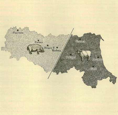 1. Mappa dell'Emilia-Romagna: Evidenziata la suddivisione del territorio tra allevamento suino (Piacenza, Parma, Regio e Modena) e allevamento ovino (Bologna, Ravenna, Forlì)