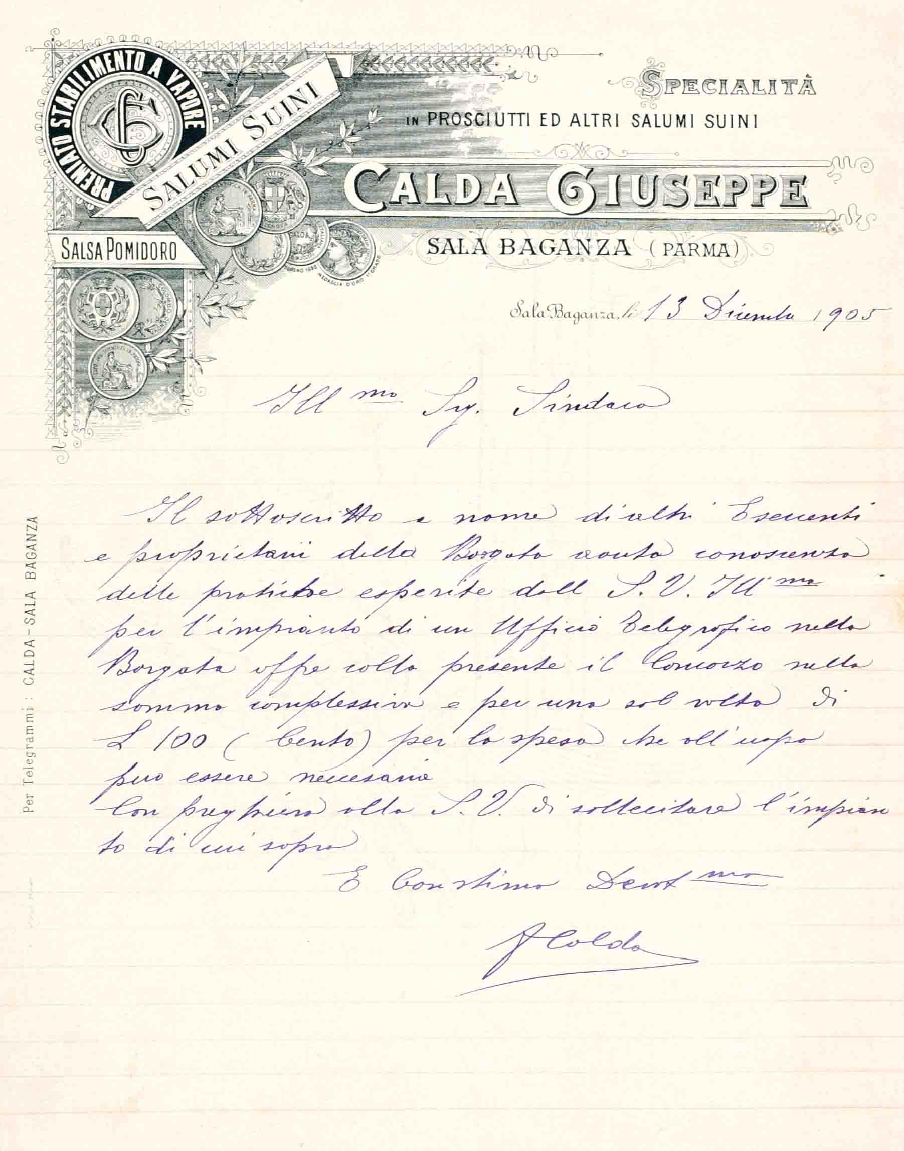 Carta intestata del Salumificio Calda di Sala Baganza (PR), 1900 ca.