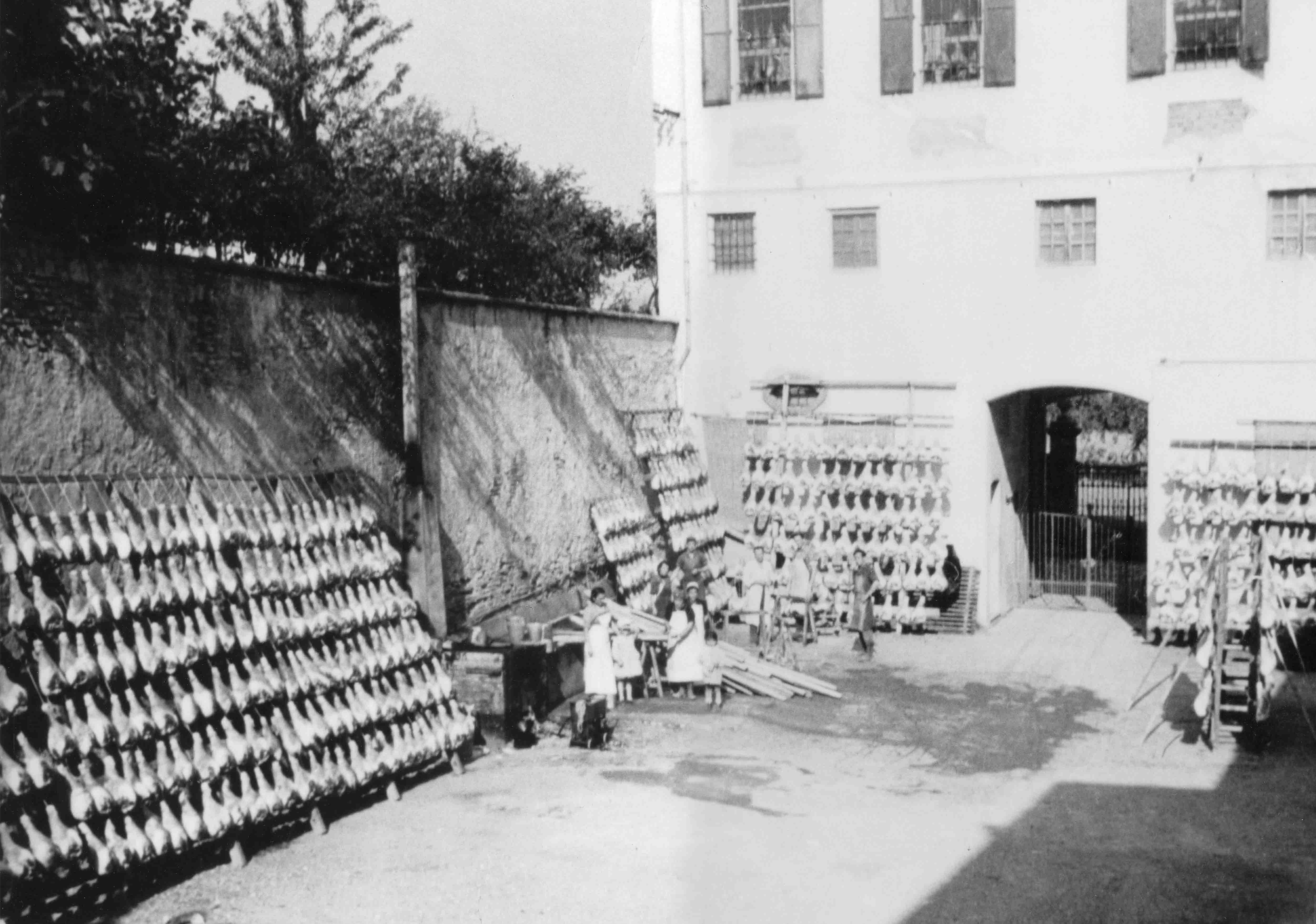 Asciugatura all'aperto dei prosciutti presso la ditta Luppi, San Vitale Bagaganza (PR), 1950 ca.