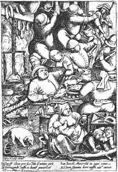 La cucina grassa. Incisione fiamminga del XVII secolo da un dipinto di Peter Brügel il Vecchio. Vita quotidiana, lavoro di cucina e attività domestiche si fondono nell'animata scena, dove i commensali consumano con abbondanza carne di maiale e salumi