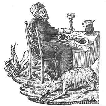 Il ghiottone. Incisione del XVI secolo