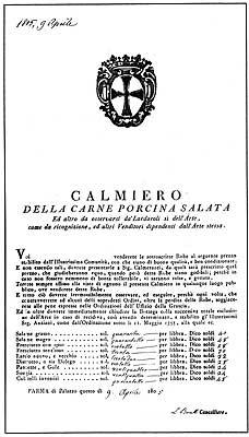 """Il """" Calmiero della Carne Porcina Salata"""" emanato dal Comune di Parma il 9 aprile 1805 cita espressamente i """"Culatelli investiti"""""""