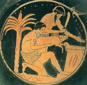 Sacrificio d'un maiale: Dettaglio di un vaso attribuito al pittore d'Epidromos, V Sec. A.C. (Louvre)