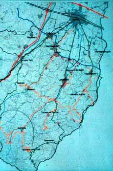 Nell'immagine sono evidenziati (all'interno del distretto agro-alimentare Sud-Est della provincia di Parma) in rosso gli insediamenti industriali esistenti, in blu quelli in previsione