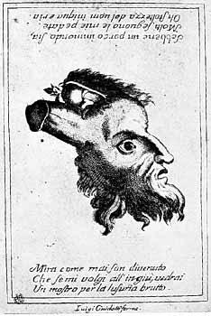 [Foto5a] L'uomo porco: Incisione su rame, XVIII secolo. Bologna, Collezione privata. I vizi dell'uomo divengono metafora del maiale in questo arcimboldesco gioco grafico del Settecento italiano