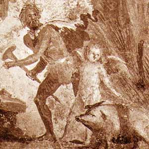 """Scena di sacrificio campestre: Pannello dipinto, I sec. dC, Pompei, Villa dei misteri. Il maialetto presenta una caratteristica """"cinta"""" scura al dorso"""