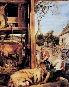 """Pieter Paul Rubens, Il figliol prodigo. Olio su tela, 1618-19, Anversa, Museo reale di Belle Arti. L'allevamento dei porci, di cui il """"figliol prodigo"""" è incaricato, è rappresentato, più che nell'antico Medio Oriente, in una seicentesca fattoria olandese, non dissimile dai coevi insediamenti delle nostre campagne"""