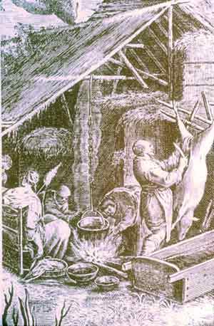 Jacopo da Ponte – Giovanni Sadalee, La macellazione del maiale: Xilografia, 1593-1597