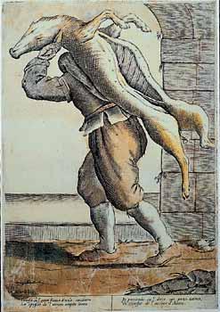 Giuseppe Maria Mitelli, Il Norcino. Xilografia, XVII sec. Da Le Arti per Via di Annibale Carracci, 1660
