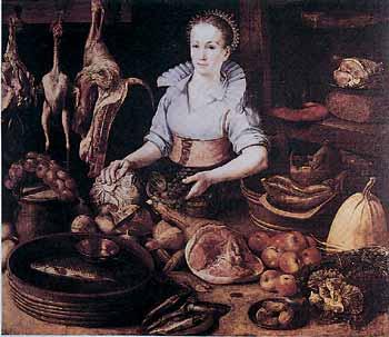 Pieter Cornelisz, La cuoca. Olio su tela, 1628 ca. Gand, Museo di Belle Arti. In primo piano, tra ortaggi, cacciagione e vari tranci di carni, spicca una coscia di maiale pronta per la preparazione