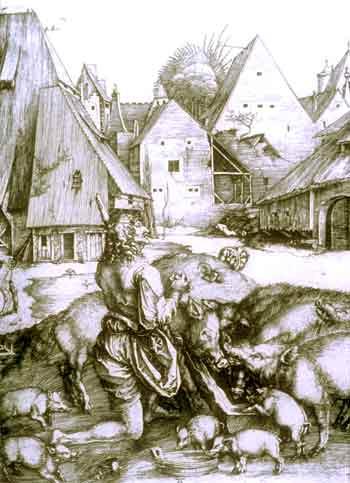 Albrecht Dürer, Il figliol prodigo: Xilografia, XV sec.