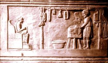 """Rilievo funerario di Roma: età di Adriano, scena di """"Carnarium"""""""