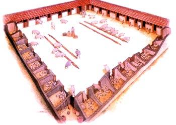 Ricostruzione della porcilaia della villa di Settefinestre, prospetto (Ansedonia): metà del II sec. d. C.