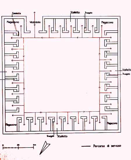 Ricostruzione della porcilaia della villa di Settefinestre, pianta (Ansedonia): metà del II sec. d. C.