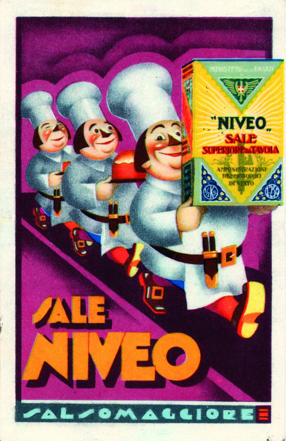 Cartolina pubblicitaria del Sale Niveo di Salsomaggiore del 1933 (Langhirano, Museo del Prosciutto di Parma)